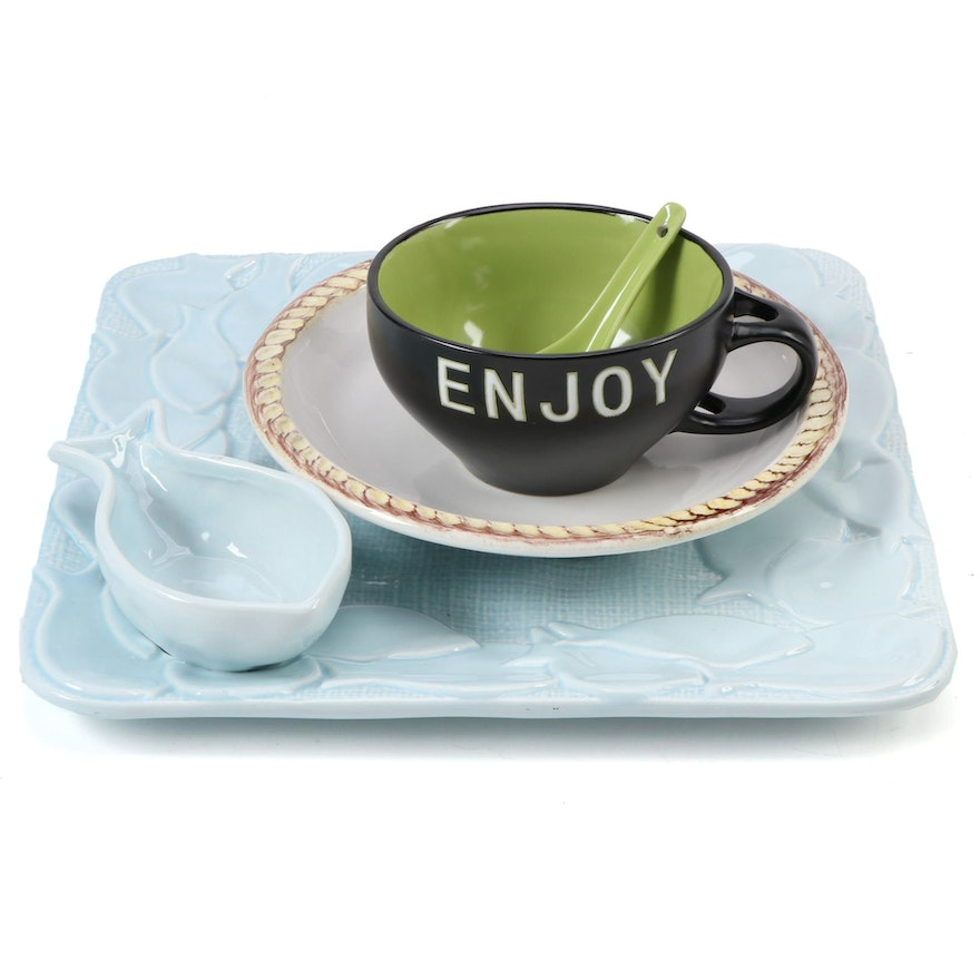 """Mudpie """"Burlap Fish"""" Chip and Dip Tray and Other Ceramic Bowls"""