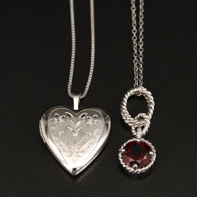 Sterling Diamond Heart Locket Necklace and Garnet Pendant Necklace