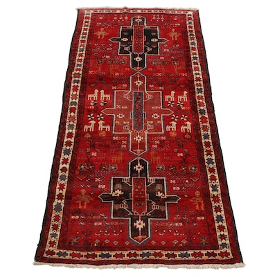 4'2 x 8'7 Hand-Knotted Northwest Persian Pictorial Area Rug