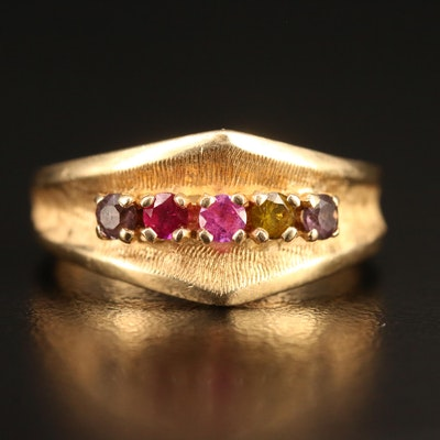 14K Multi-Gemstone Band with Textured Finish
