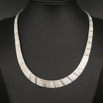 Sterling Diamond Cut Fringe Collar