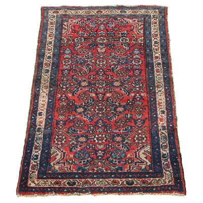 2'7 x 3'10 Hand-Knotted Persian Zanjan Accent Rug, 1920s