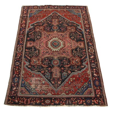 4'2 x 6'5 Hand-Knotted Persian Farahan Sarouk Area Rug, 1910s