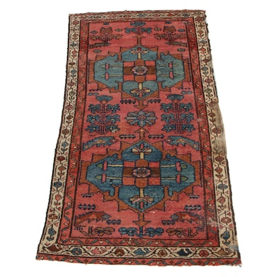 2'3 x 4'5 Hand-Knotted Persian Malayer Accent Rug, 1920s