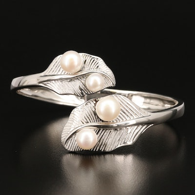 Sterling Pearl Foliate Bypass Bangle