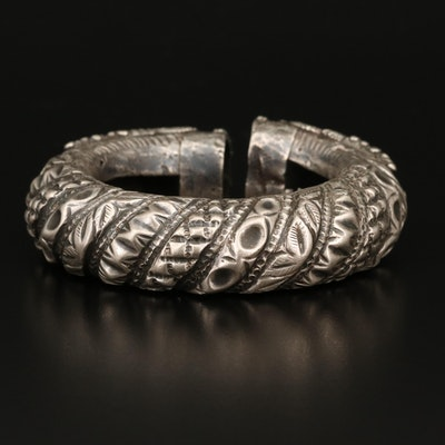 Vintage Indian Madhya Pradesh Sterling Makara Shiva Bangle