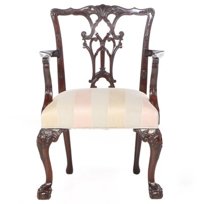 Chippendale Style Carved Mahogany Armchair, 20th Century
