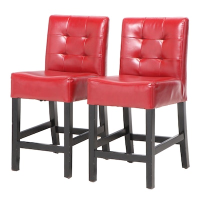 Pair of Contemporary Ebonized Wood and Faux Leather Counter-Height Bar Stools