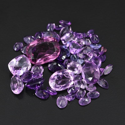 Loose Mixed Gemstones Including Amethyst, Tanzanite and Glass