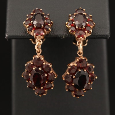 Vintage Sterling Garnet Screw Back Earrings