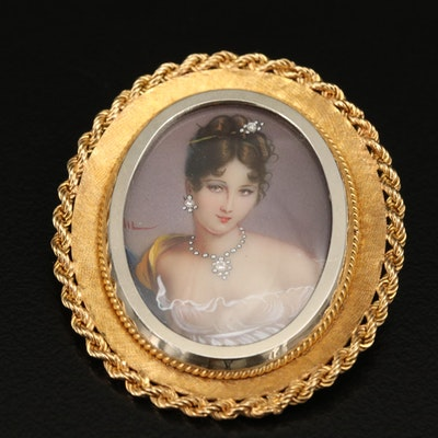 Vintage Corletto 18K Diamond Portrait Miniature Converter Brooch