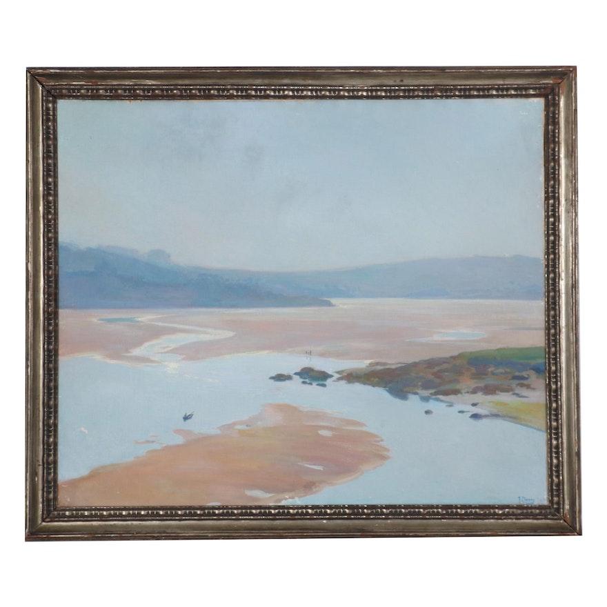 "Francisco Llorens Y Diaz Oil Painting ""Marismas Galicia,"" Early 20th Century"