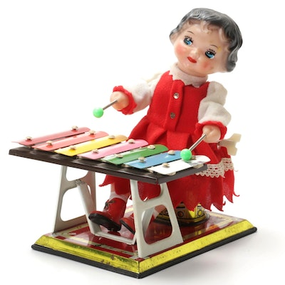 "MS085 ""Little Performer"" Tin Xylophone Wind-Up Toy, Vintage"