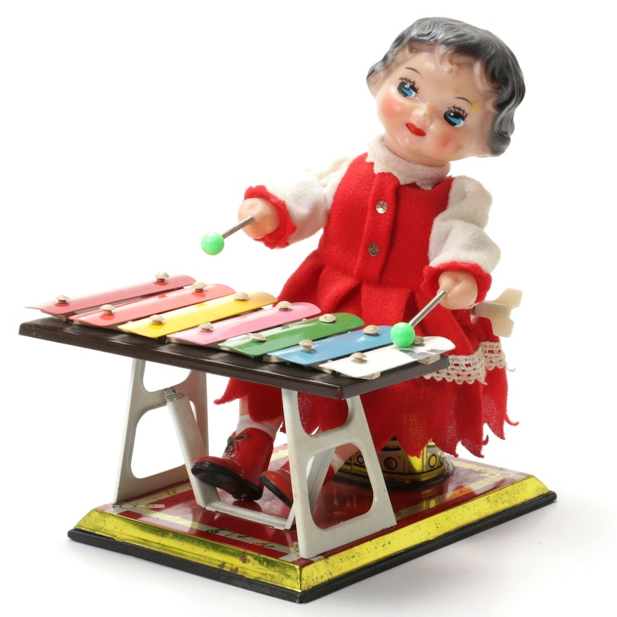 """MS085 """"Little Performer"""" Tin Xylophone Wind-Up Toy, Vintage"""