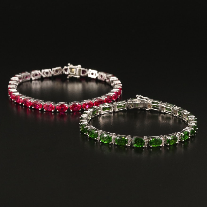Sterling Diopside, Zircon and Ruby Bracelets