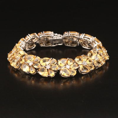 Sterling Citrine and Topaz Floral Link Bracelet