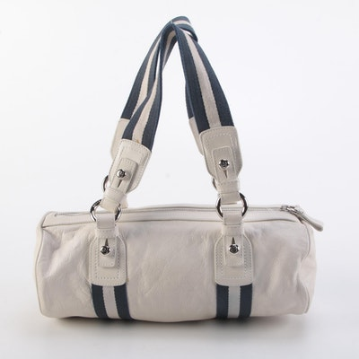 Bally Tulla Web Strap Barrel Bag in Leather