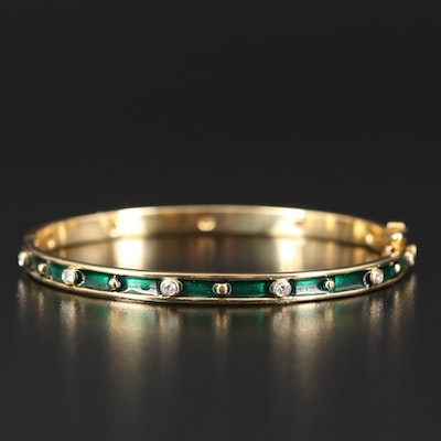 18K Diamond Station Bangle