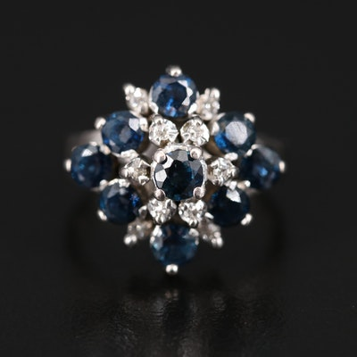 10K Sapphire and Diamond Tiered Ring