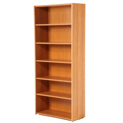 Teak Laminate Six-Shelf Bookcase