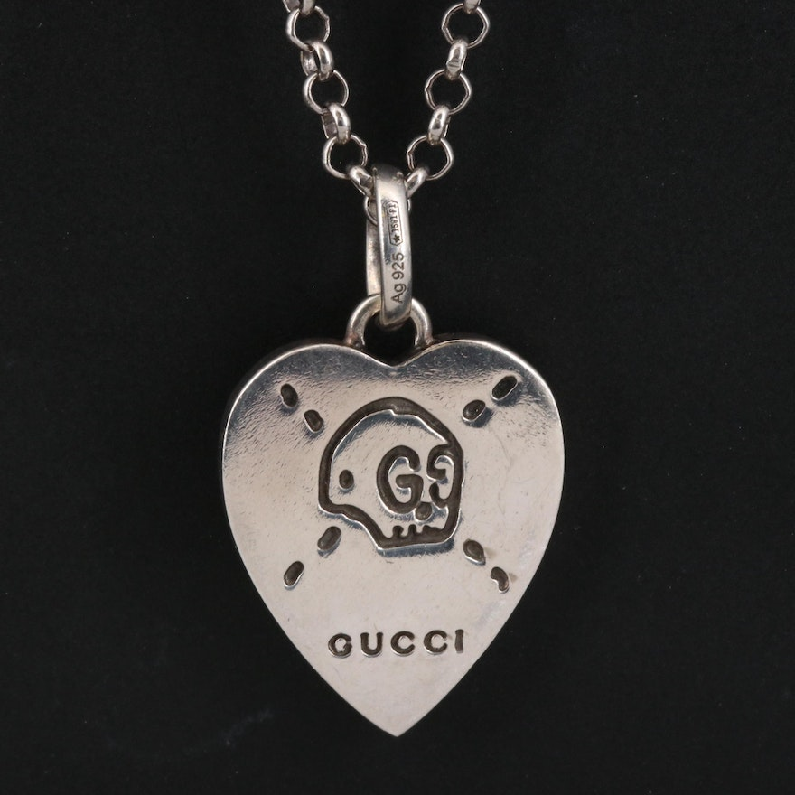 "Gucci ""Ghost Heart"" Sterling Silver Necklace"