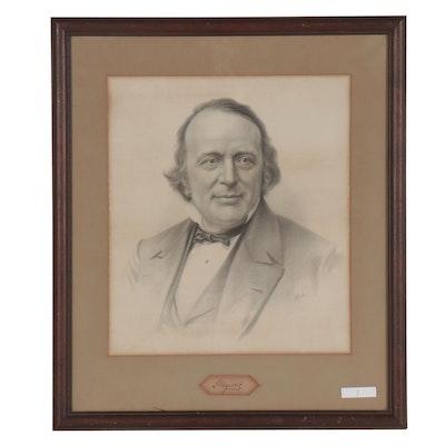 Portrait Lithograph of Swiss-American Scientist Louis Agassiz
