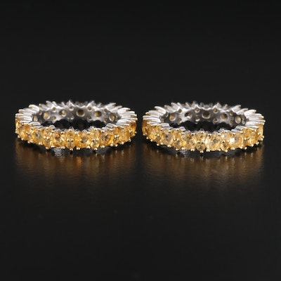Sterling Silver Citrine Eternity Bands