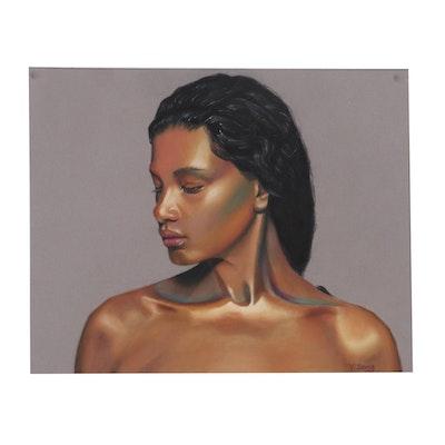 "Y. Zeng Pastel Drawing ""Woman,"" 21st Century"