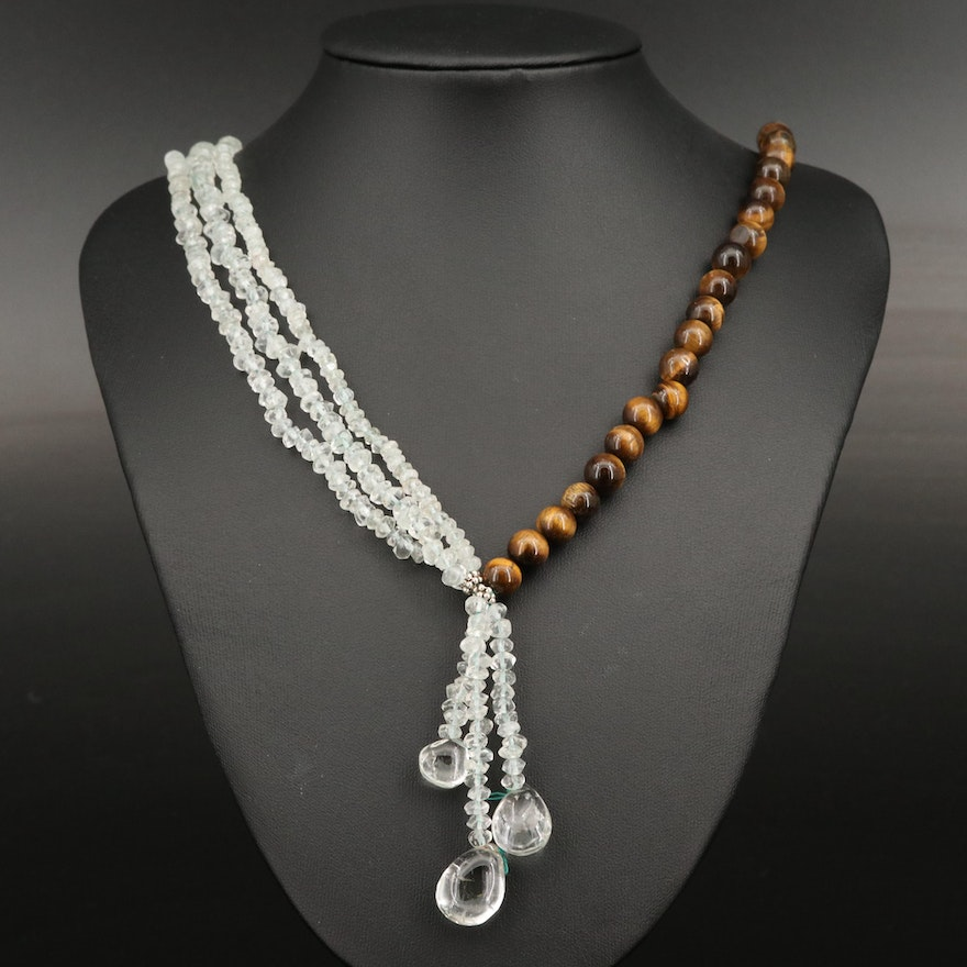 Tiger's Eye and Quartz Beaded Tassel Necklace