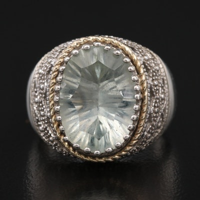 Sterling Silver Prasiolite Ring with 14K Accent