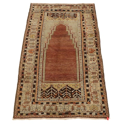 3'6 x 6'3 Hand-Knotted Turkish Village Prayer Rug, Mid-20th Century