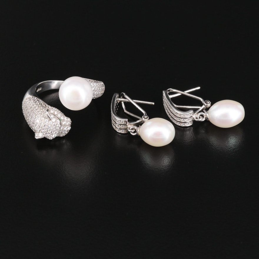Sterling Silver Pearl and Cubic Zirconia Jaguar Ring with Drop Earrings