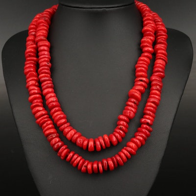 Knotted Coral Beaded Necklace with Sterling  Clasp