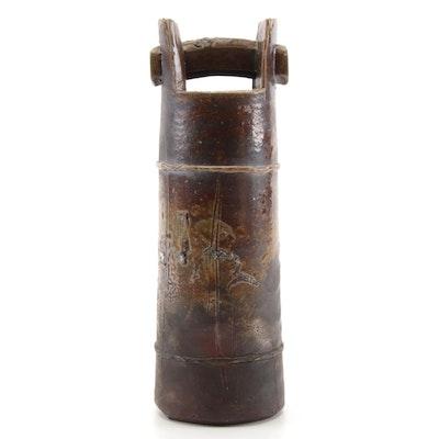 Japanese Bizen Ware Pottery Bamboo Vase