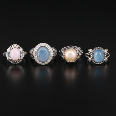 Sterling Ring Selection Featuring Chalcedony, Pearl and Opal Doublets