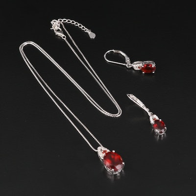 Sterling Pendant Necklace and Earrings Set Featuring Hessonite Garnet and Topaz
