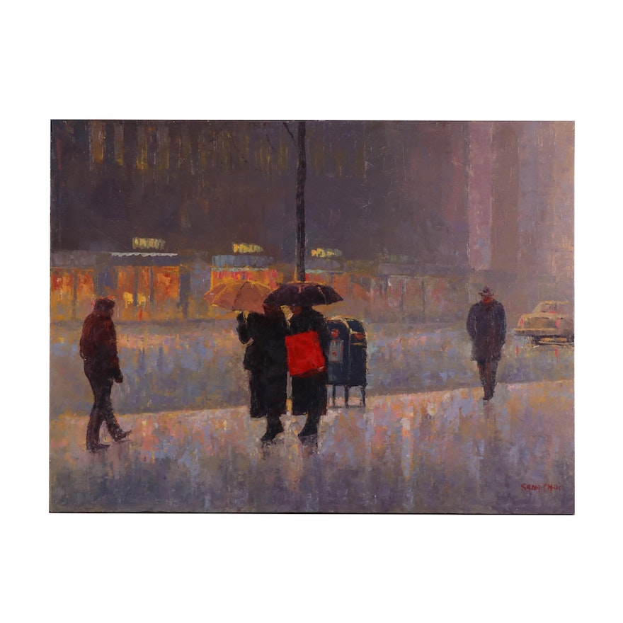 Sang Choi Impressionist Oil Painting of City Street in Rain