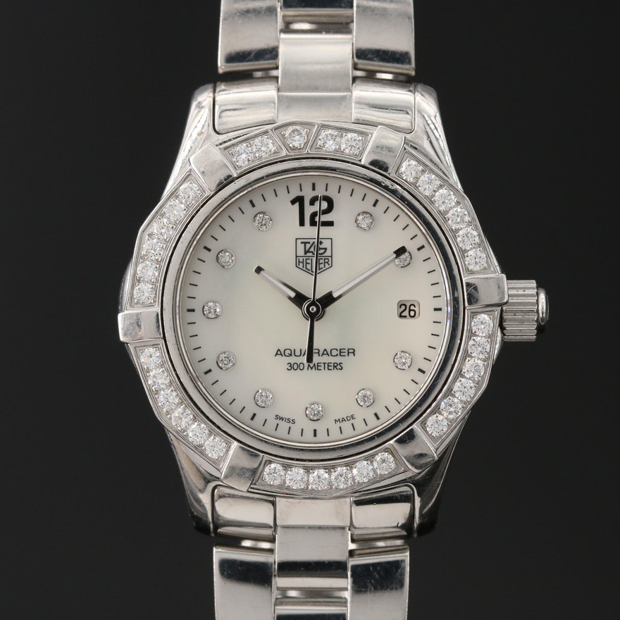 TAG Heuer Mother of Pearl Diamond Dial and Bezel Stainless Steel Wristwatch