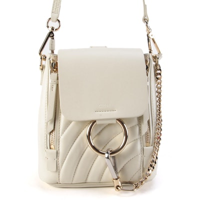Chloé Faye Mini Backpack Purse in Off-White Quilted Leather