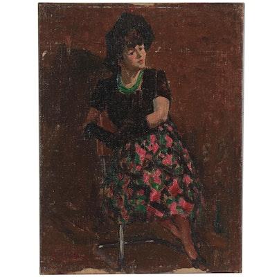 Edmond James Fitzgerald Portrait Oil Painting, 1984