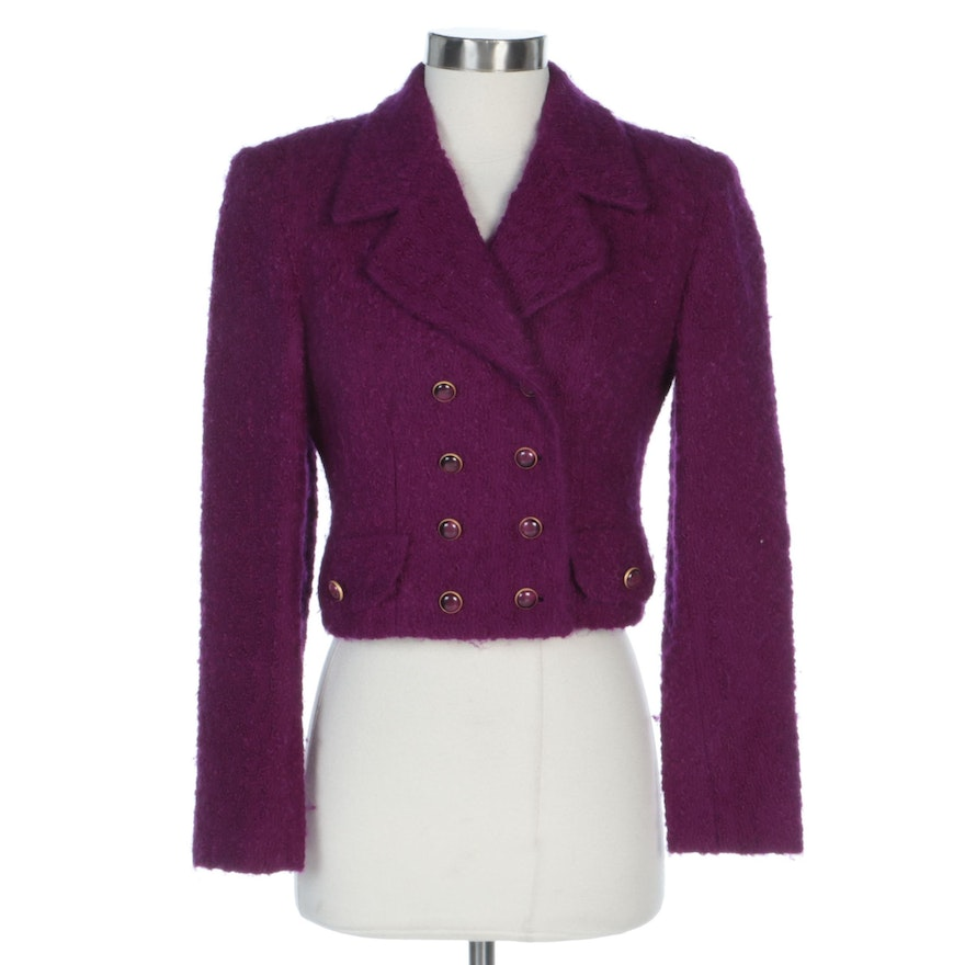 Carlisle Purple Cropped Wool and Mohair Jacket