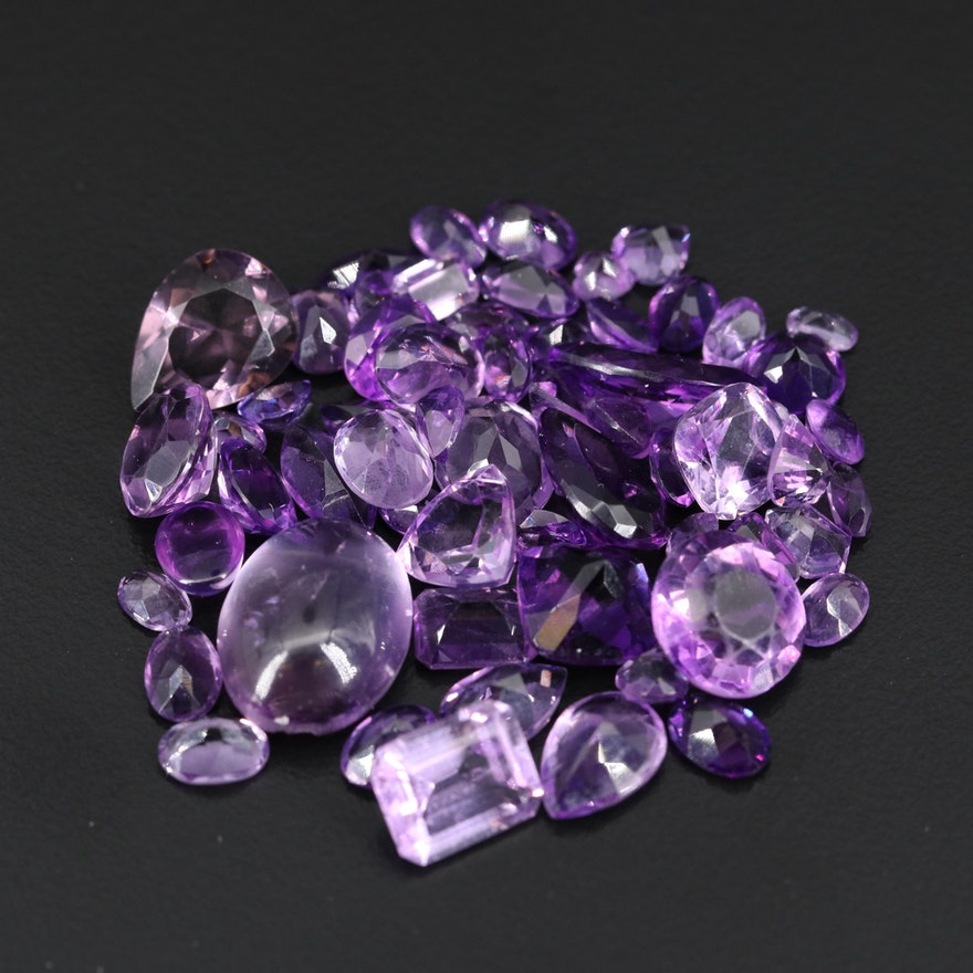 Loose 69.57 CTW Faceted and Oval Cabochon Amethysts