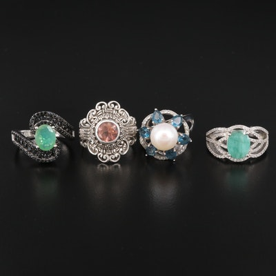 Sterling Pearl and Gemstone Rings