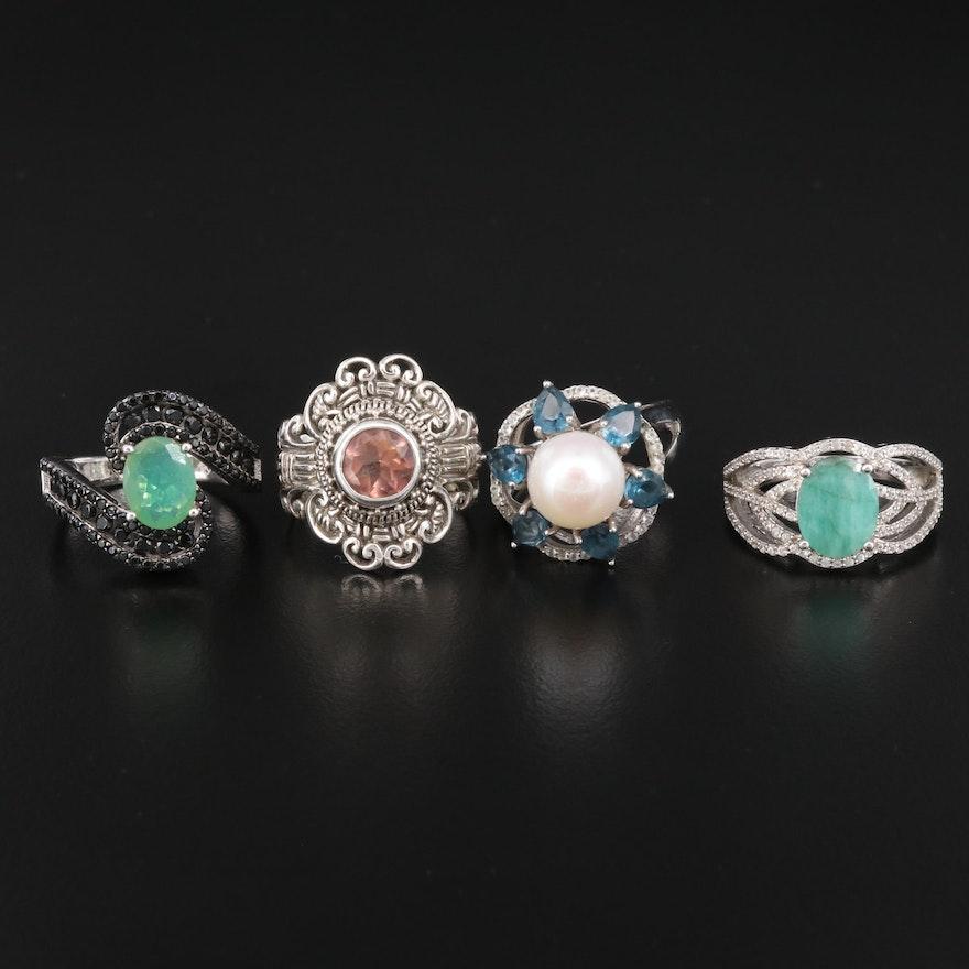 Sterling Pearl and Gemstone Rings