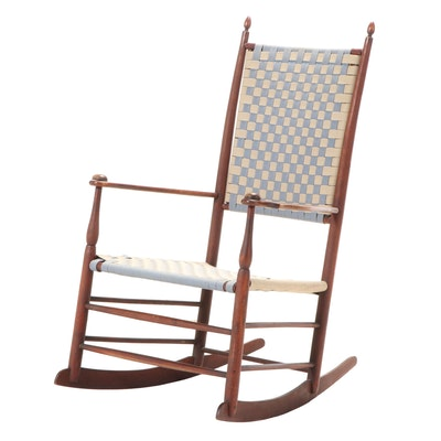 Mt. Lebanon, NY Shaker Maple and Woven Tape Rocker, Late 19th/Early 20th Century