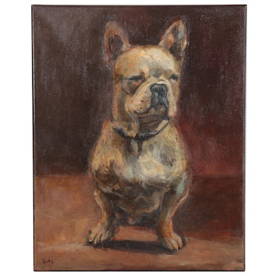 "Adam Deda Oil Painting ""French Bulldog,"" 2009"