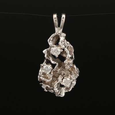 14K Diamond Freeform Pendant