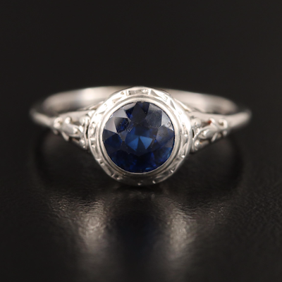 14K Round Faceted Sapphire Solitaire Ring with 10K Shank