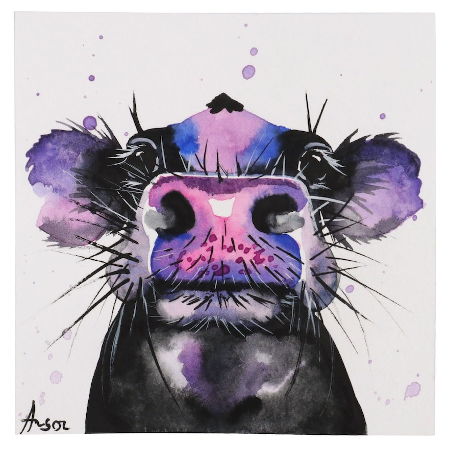 """Anne """"Angor"""" Gorywine Miniature Watercolor Painting of Cow, 2019"""