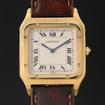 Cartier Santos Dumont Ultra Thin 18K Gold Stem Wind Wristwatch